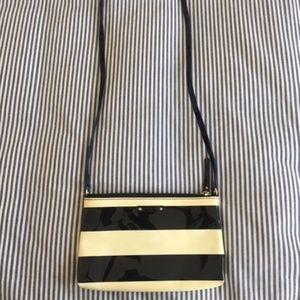 Kate Spade Black & white stripe crossbody purse